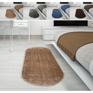 Ottomanson Softy Collection Solid Color Kitchen/Bathroom Oval Runner Rug (2' x 6')