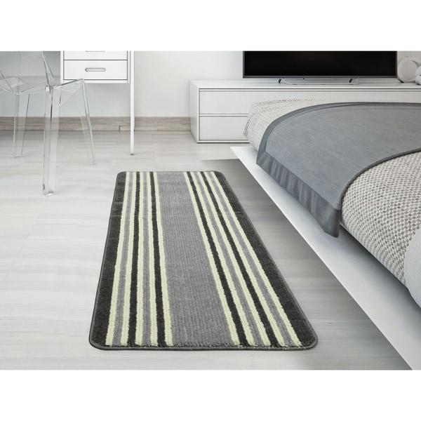 "Ottomanson Softy Collection Ivory Stripes Kitchen/Bathroom Runner Rug Grey (20"" x 59"") - 20"" x 59"""
