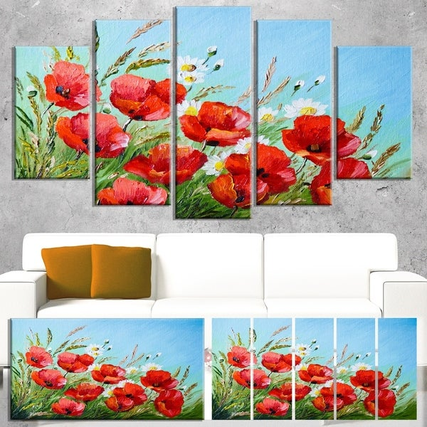 Designart 'Poppies in Field against Blue Sky' Modern Floral Wall Artwork