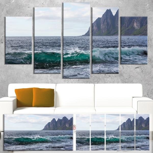 Designart 'Beautiful Lofoten Island Norway' Large Seashore Canvas Print