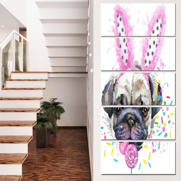 Designart 'Cute Dog with Pink Feather Hat' Contemporary Animal Art Canvas