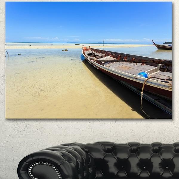 Designart 'Traditional Thai Boat on Beach' Modern Seashore Canvas Wall Art Print