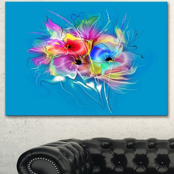 Designart 'Summer Colorful Flowers on Blue' Extra Large Floral Wall Art - Blue