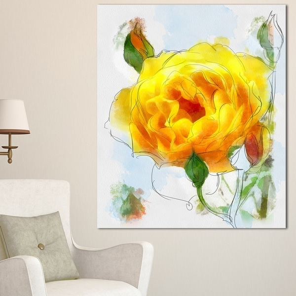 Designart 'Yellow Rose with Rose Buds Sketch' Large Floral Canvas Artwork