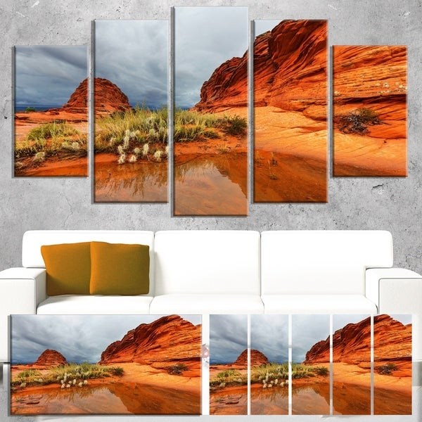 Designart 'Clear Lake Vermillion Cliffs' Oversized Landscape Canvas Art