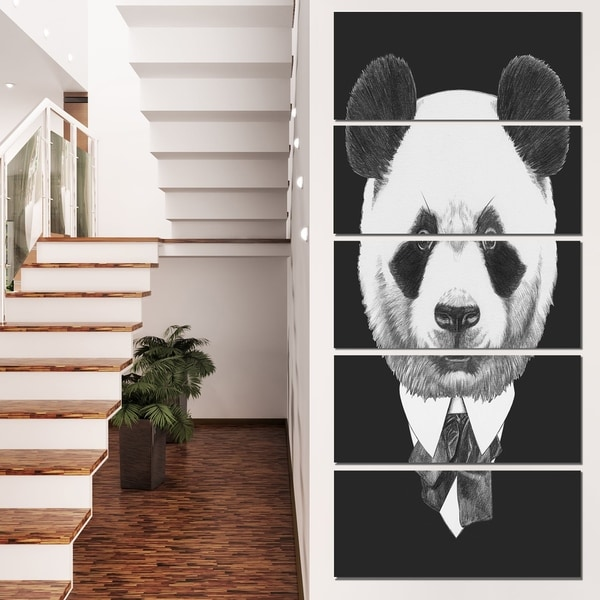 Designart 'Funny Panda in Suit and Tie' Modern Animal Canvas Art