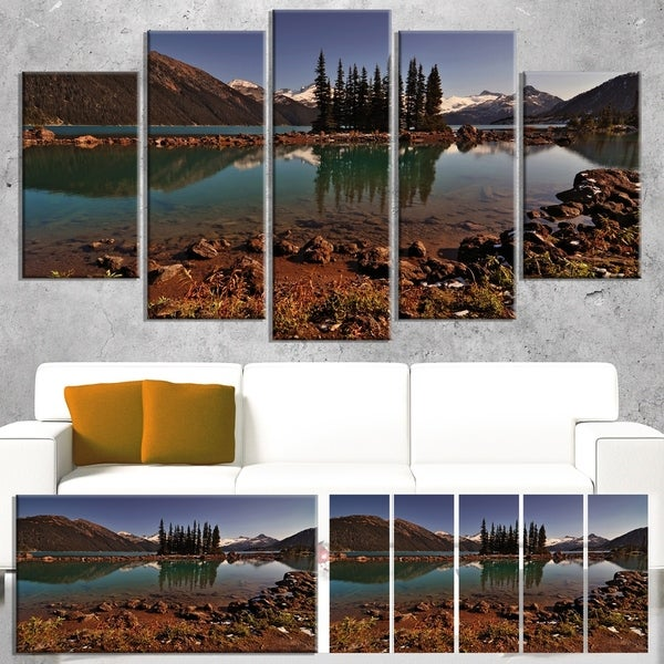 Designart 'Lake and Pine Trees in Evening' Extra Large Landscape Art Canvas