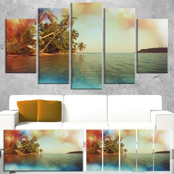 Designart 'Serene Tropical Beach with Palms' Seashore Canvas Art Print