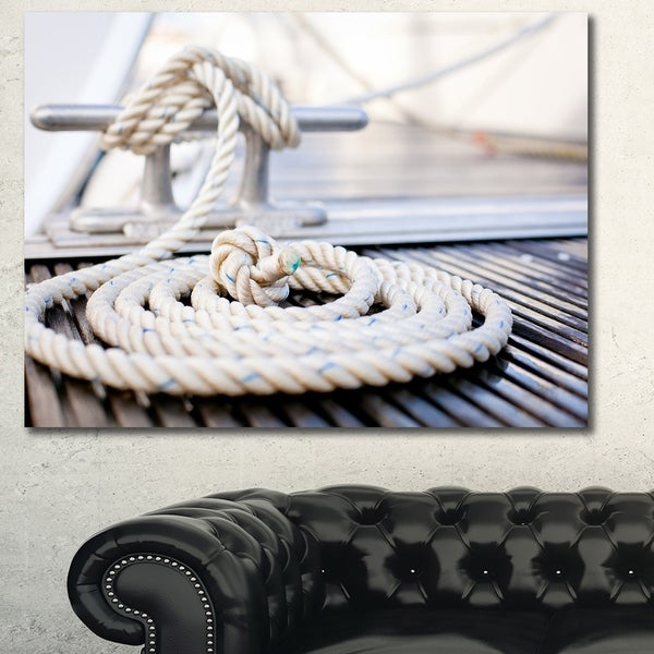 Designart 'White Nautical Mooring Rope' Modern Landscape Canvas Art