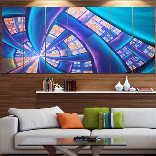 Designart 'Blue Yellow Fractal Stained Glass' Abstract Wall Art on Canvas