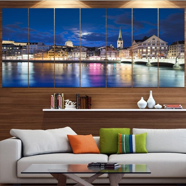 Designart 'Scenic Panorama of Old Town' Landscape Wall Artwork on Canvas