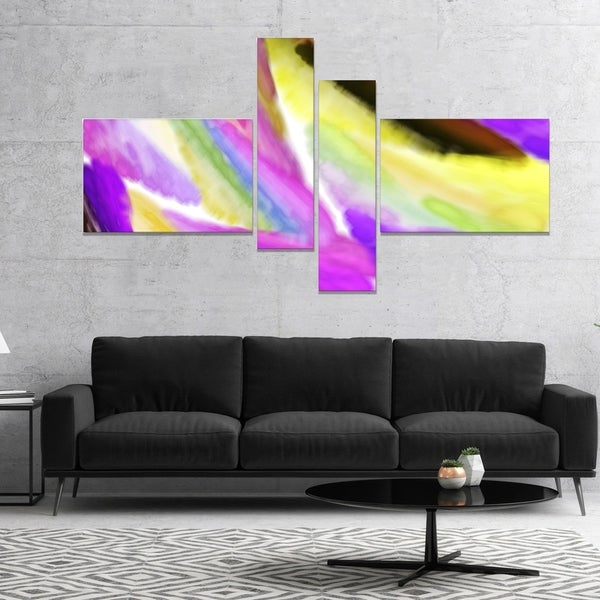 Designart 'Purple Vibrant Brushstrokes' Abstract Canvas Art Print