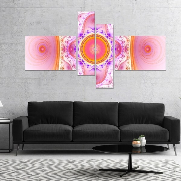 Designart 'Cabalistic Pink Fractal Design' Abstract Wall Art Canvas