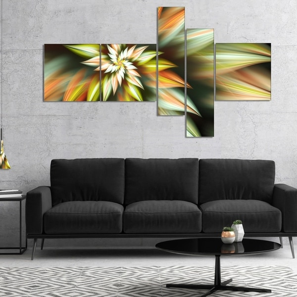 Designart 'Exotic Brown Fractal Spiral Flower' Abstract Canvas Art Print
