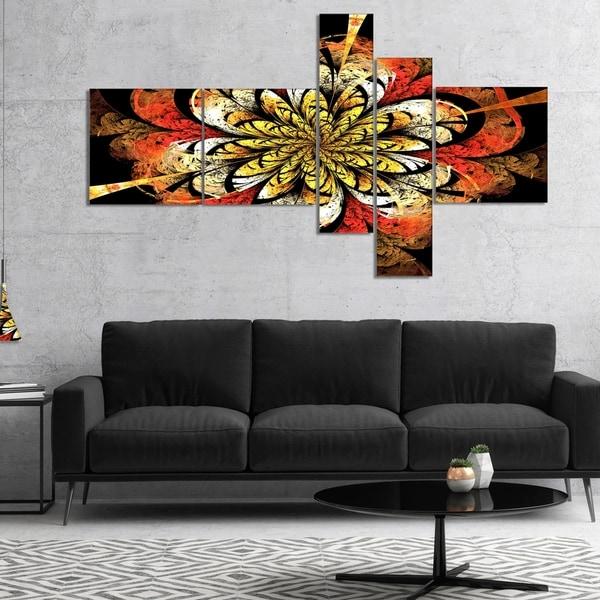 Designart 'Dark Yellow Orange Fractal Flower' Abstract Wall Art Canvas