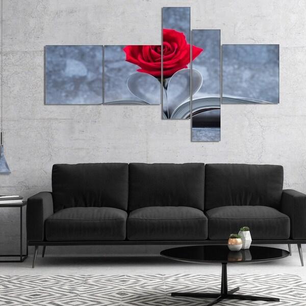 Designart 'Red Rose Inside the Book' Floral Art Canvas Print