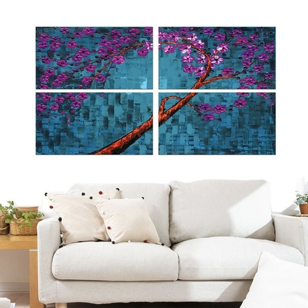 Abstract 'Floral' 5-piece Gallery-wrapped Canvas