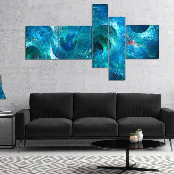 Designart 'Blue Circles Fractal Texture' Abstract Canvas Art Print