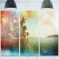 Designart 'Serene Tropical Beach with Palms' Seashore Glossy Metal Wall Art