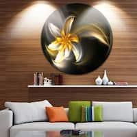Designart 'Green Fractal Flower in Dark' Floral Digital Art Disc Metal Wall Art