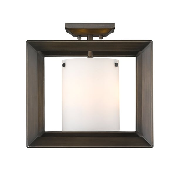 Golden Lighting's Smyth Semi-Flush (Low Profile) (Gunmetal Bronze & Opal glass) #2073-SF12 GMT-OP