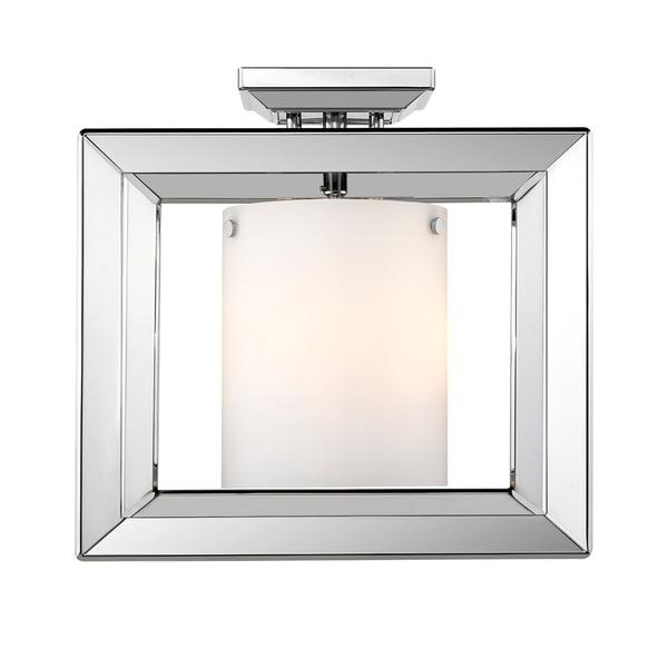Golden Lighting's Smyth Semi-Flush (Low Profile) (Chrome & Opal glass) #2074-SF12 CH-OP
