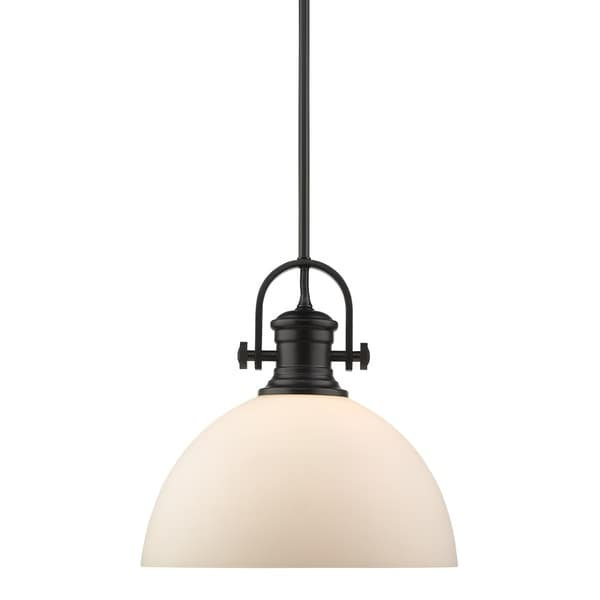 Golden Lighting's Hines 1 Light Pendant #3118-L BLK-OP