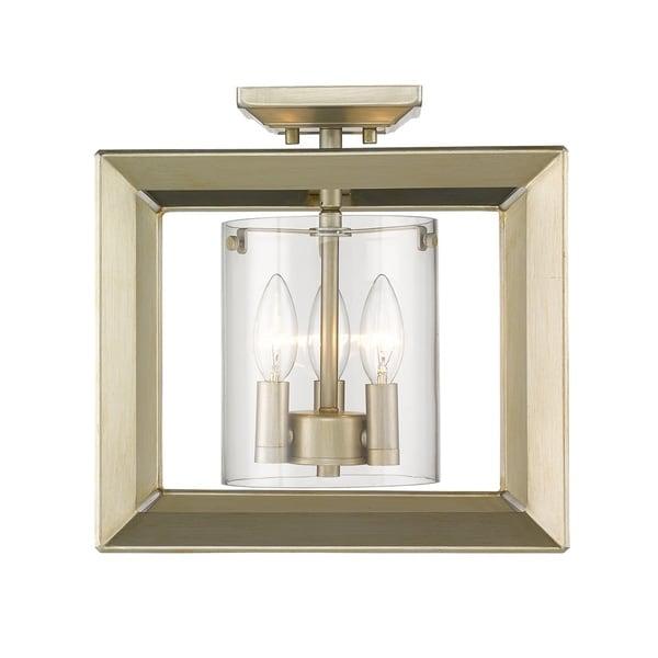 Golden Lighting's Smyth Semi-Flush (Low Profile) (White Gold & Clear glass) #2073-SF12 WG-CLR