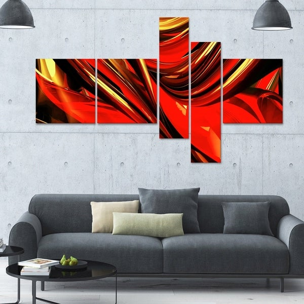 Designart 'Fire Lines Red' 63x36 Large Abstract Canvas Art Print - 5 Panels
