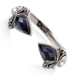 Stephen Webster Superstud Silver Cat's Eye and Quartz Bangle Bracelet