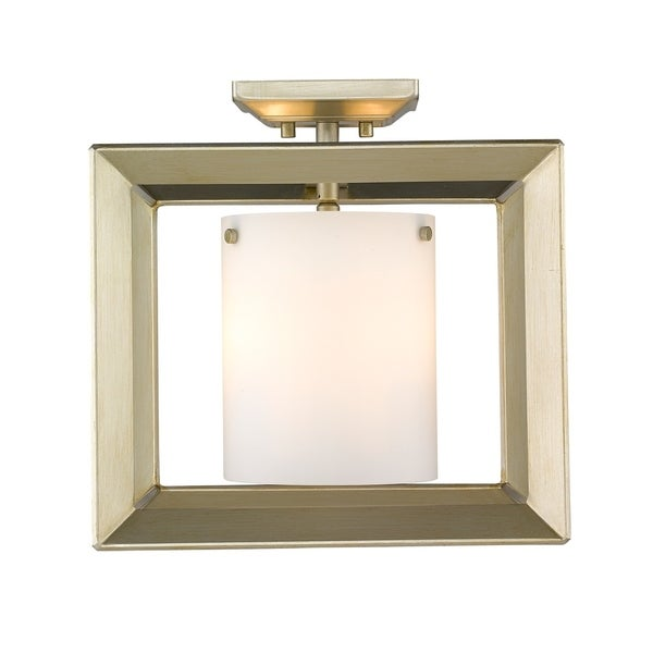 Golden Lighting's Smyth Semi-Flush (Low Profile) (White Gold & Opal glass) #2073-SF12 WG