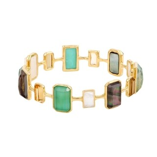 Rock Candy 18K Yellow Multi-Colored Stones and Mother of Pearl Bangle Bracelet