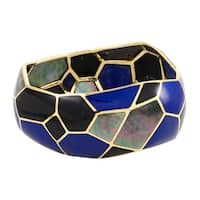 Polished Rock Candy Yellow Gold Mother of Pearl Onyx and Lapis Bangle Bracelet