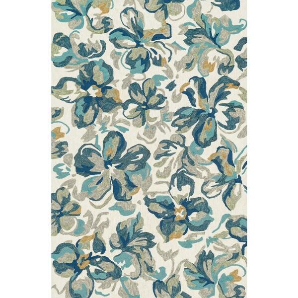 Indoor/ Outdoor Hand-hooked Blue Floral Hibisicus Rug (7'6 x 9'6) - 7'6 x 9'6