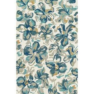 Indoor/ Outdoor Hand-hooked Blue Floral Hibisicus Rug (7'6 x 9'6)