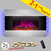 """AKDY  FP0048 36"""" Tempered Glass Electric Fireplace Heat Wall Mount Adjustable Heater 2 Settings"""