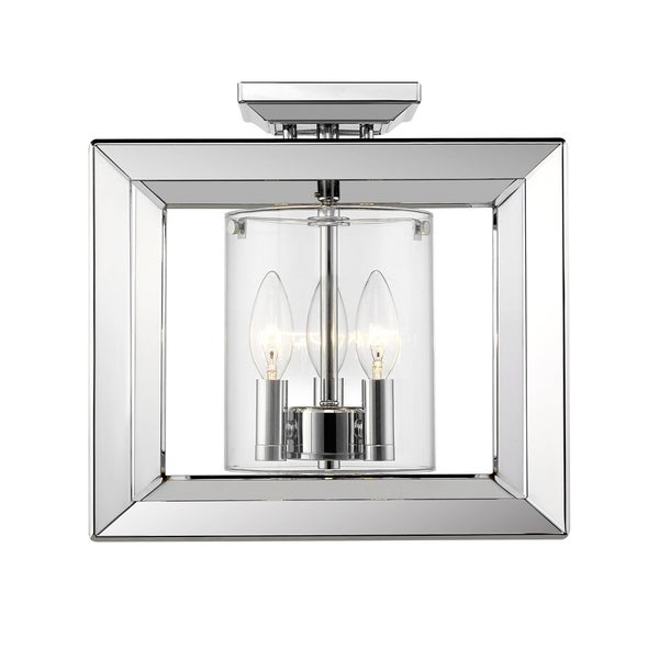 Golden Lighting's Smyth Semi-Flush (Low Profile) (Chrome& Clear glass) #2073-SF12 CH-CLR