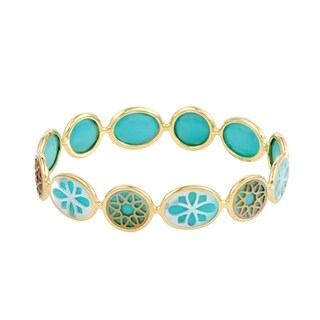 Polished Rock Candy 18K Yellow Gold Mother of Pearl and Turquoise Bangle Bracelet