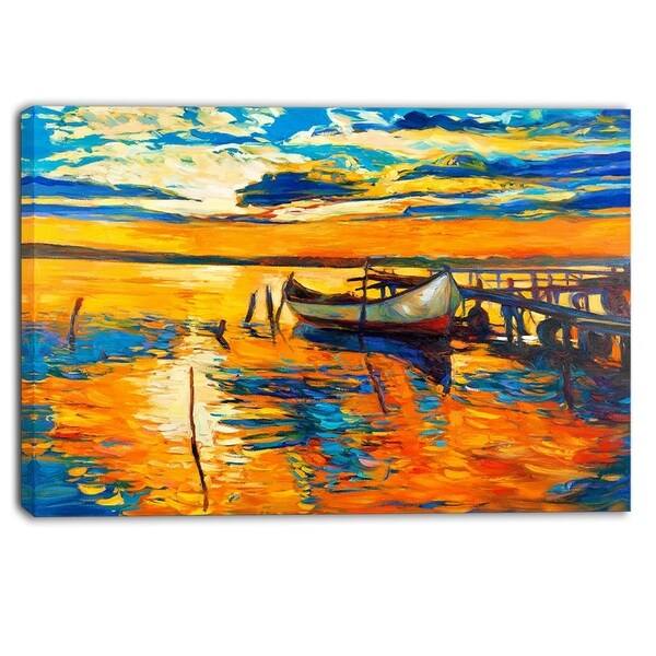 Designart - Boat and Jetty at Sunset - Landscape Canvas Artwork - Yellow