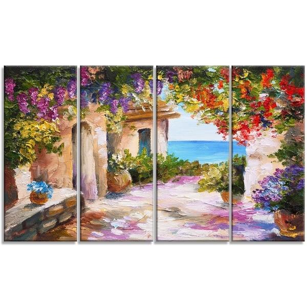Designart - Summer Seascape - 4 Piece Landscape Canvas Art Print
