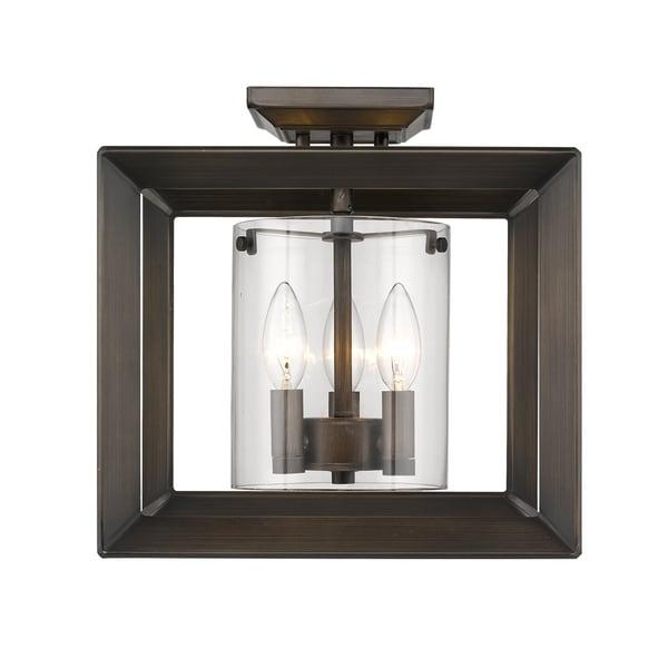 Golden Lighting's Smyth Semi-Flush (Low Profile) (Gunmetal Bronze & Clear glass) #2073-SF12 GMT