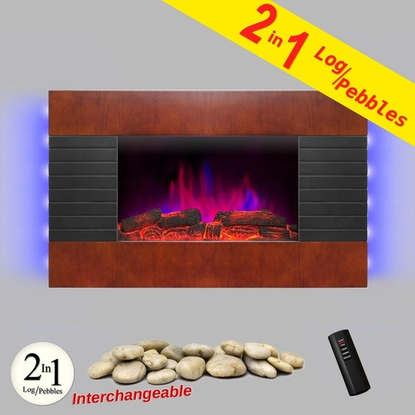 "AKDY FP0049 36"" Wooden Tempered Glass Electric Fireplace Heat Wall Mount Adjustable Heater 2 Settings"