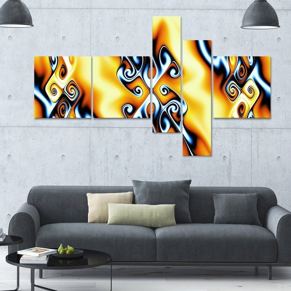 Designart 'Yellow Squiggles' 63x36 Contemporary Canvas Art - 5 Panels
