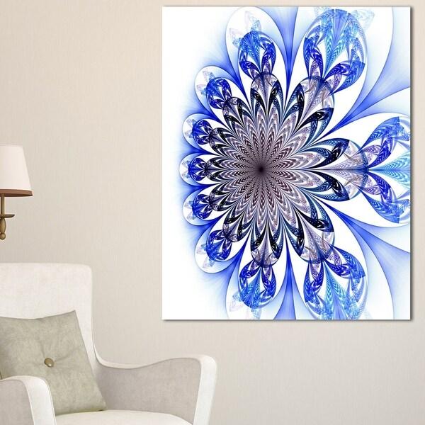 Light Blue Fractal Flower Digital Art - Large Floral Canvas Art Print