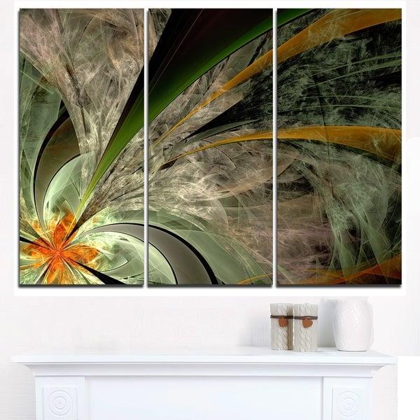Symmetrical Fractal Flower in Green - Modern Floral Canvas Wall Art