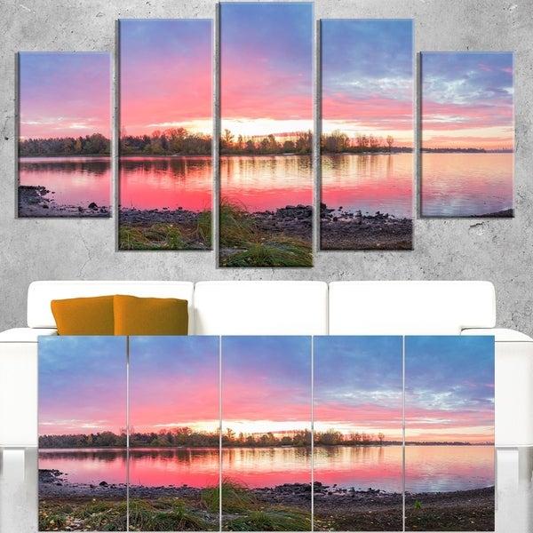 Beautiful Fall Sunrise Over River - Landscape Wall Art Canvas Print