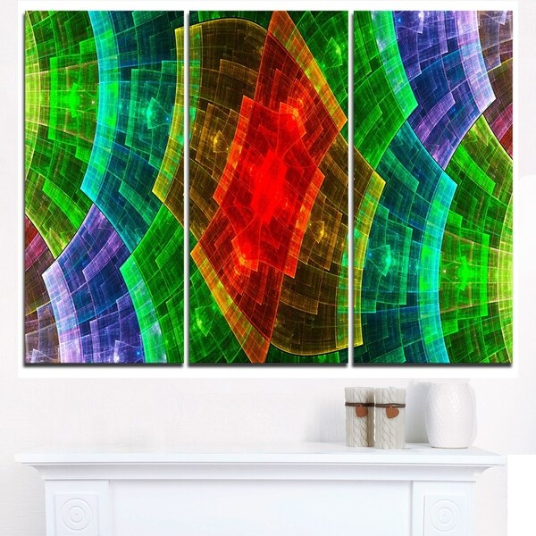 Colorful Psychedelic Fractal Metal Grid - Abstract Wall Art Canvas