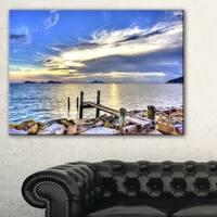 Makeshift Wooden Pier into the Sea - Large Seashore Canvas Print