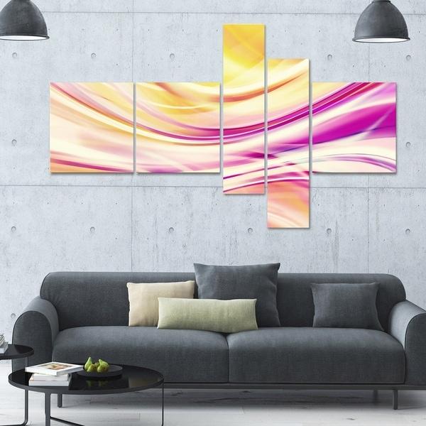 Designart 'Candy Stripes' Large 63x36 Contemporary Canvas Art - 5 Panels