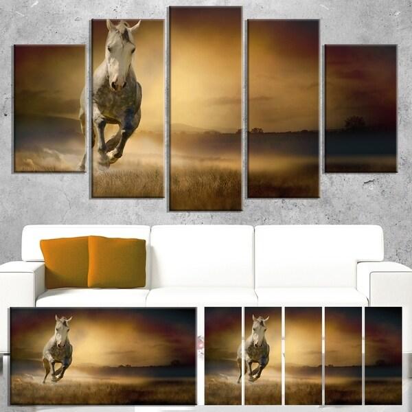 Designart 'Horse Galloping Through Valley' Large Animal Art on Canvas